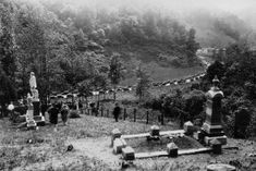 """Hundreds gather for the dedication of the carved Italian marble statue that marks Anderson """"Devil Anse"""" Hatfield's grave at Sarah Ann in Logan County, WV. Note the large number of automobiles parked along the highway. Hatfields And Mccoys, Poplar Tree, Time To Leave, Fiction And Nonfiction, Old West, West Virginia, Family History, Cemetery, Funeral"""