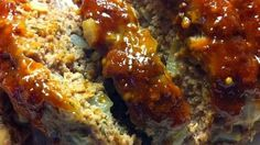 Delicious meatloaf with a slightly sweet sauce