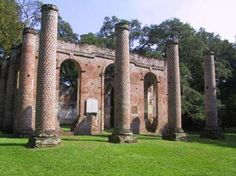 Old Sheldon Church Ruins, Sheldon, Beaufort County, SC~Old Sheldon Church was built in 1745 as the church of Prince William Parish. It was burned by the British in May 1779. It was rebuilt, then burned again in January 1865 by General Sherman's troops. The walls remain today and it is a spectacular place to visit.
