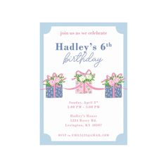 Birthday Invitations - We Pink Everyday is a Gift - The Beaufort Bonnet Company 2nd Birthday, Birthday Gifts, Happy Birthday, Beaufort Bonnet Company, Bday Girl, Paper Goods, Birthday Invitations, Thank You Cards, Party Time