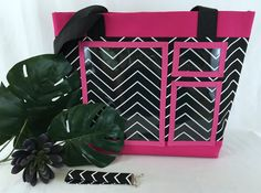 The perfect conversation starter! This is a custom made tote bag with pockets perfectly sized to show off your catalog, business card, and other materials you would like to display. This listing is for a black and white bag with pink accents and pink lining. The lining is white. On the inside of the bag are three pockets and a D ring where you can clip your keys or other items. Catalog Pocket Size Options:  Option A: Pocket will be 8 x 10. This fits catalogs from Younique, Style Dots…