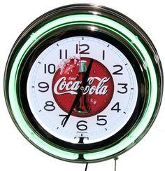 Coca Cola Green Neon Wall Clock New Quartz Lifestyle Lighting