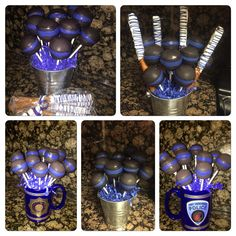 Thin blue line cake pops Police Retirement Party, Police Wedding, Police Party, Retirement Parties, 6th Birthday Parties, Grad Parties, Birthday Ideas, Police Officer Gifts, Police Gifts