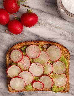 Summery Avocado Toast: Avocado, Thinly Sliced Radishes, Salt, Pepper