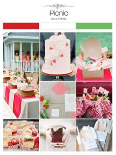 Picnic red, gingham, green and white wedding inspiration board, color palette, mood board via Weddings Illustrated