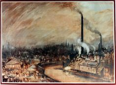 Painting of Industrial Sheffield from Victoria Station, © Sheffield Archives Family Roots, Creative Skills, Urban Landscape, Sheffield, High Quality Images, Evergreen, Scenery, Victorian, Culture