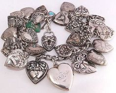RARE LOADED VTG ANTIQUE STERLING SILVER PUFFY HEART CHARM BRACELET W/ LOCKETS | Jewelry & Watches, Vintage & Antique Jewelry, Fine | eBay!