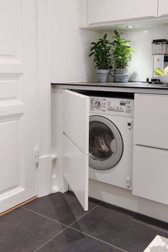 Kitchen Washer Dryer Combo Unique 31 Creative Ways to Hide A Washing Machine In Your Home Hidden Laundry, Small Laundry Rooms, Laundry Room Design, Modern Washing Machines, Washing Machine Kitchen, Quirky Kitchen, Küchen Design, Design Ideas, Home Living Room