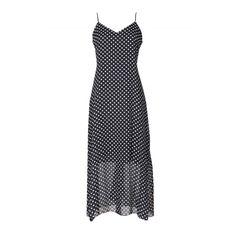 Women's V-neck Polka Dot Print Spaghetti Strap Maxi Dress (320 MXN) ❤ liked on Polyvore featuring dresses, black, polka dot maxi dress, v neck maxi dress, dot dress, dots maxi dress and sleeveless v neck dress