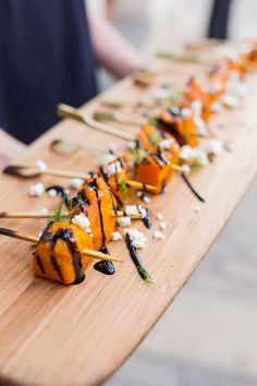 charred pumpkin skewers with balsamic reduction and goat's feta Food Truck Wedding, Wedding Catering, 3 Course Meals, Balsamic Reduction, No Salt Recipes, Roast Pumpkin, Retro Recipes, Tasty Bites, Party Snacks