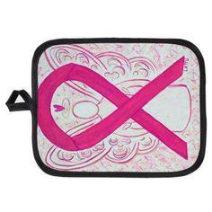 Hot Pink Awareness Ribbon Angel Art Potholder - The hot pink or magenta awareness ribbon supports awareness for  inflammatory breast cancer.