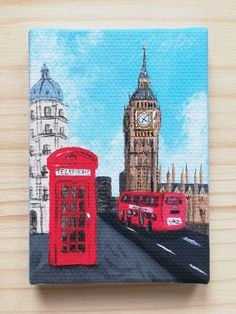 Small Canvas Paintings, Easy Canvas Art, Small Canvas Art, Mini Canvas Art, Acrylic Painting Canvas, Mini Toile, London Painting, Architecture Drawing Art, Art Painting Gallery