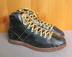 Vintage 1940s Black Leather US Navy Boxing Shoes Boots Panco Sz.7 WWII Pilots ? #Unbranded #Athletic