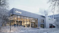Exterior visualization of Jeep Showroom located in Cracow, PL.Made for Młynarski Architektura. Don& blame for no Jeep in the scene :) Facade Design, Exterior Design, Architecture Design, Minimalist Architecture, Auto Jeep, Showroom Interior Design, Furniture Showroom, Minecraft Build House, Car Shop
