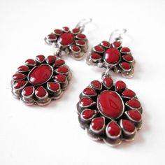 Coral Cluster Earrings - Beyond Buckskin Boutique