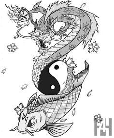 Koi Commission by BlackForHire Dragon Koi Fish, Koi Dragon Tattoo, Small Dragon Tattoos, Koi Fish Tattoo, Dragon Tattoo Designs, Japanese Tattoos For Men, Japanese Dragon Tattoos, Japanese Tattoo Art, Japanese Tattoo Designs