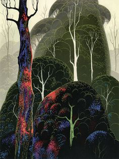 Early Autumn by Eyvind Earle.  Click on it to see how lovely it really is.