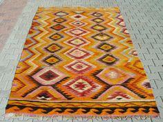 "Nomadic Turkish Kilim Rug Carpet circa 1950 - 66"" x 114"" (169 x 290 CM)"