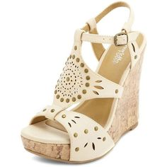 Studded Cutout Wedge Sandal (115 BRL) ❤ liked on Polyvore featuring shoes, sandals, wedges, heels, off white, peep toe wedge sandals, ankle strap heel sandals, wedge heel sandals, wedge heel shoes and platform shoes