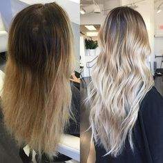 Before to #HairGoals. Formulation / Base: Schwartzkopf Igora Royal 6-12(30g)+7-1(30g)+e-1(5g)+20vol(6%) (Processed 30min.). Rinse, Shampoo, & Condition then dry for for highlights. Foil Highlights: Schwartzkopf BlondeMe(60g)+30vol(9%)+Olaplex (Processed 45-60min.) Rinse only. Toner: Redken Shades EQ 9T(20g)+9P(20g)+000(20g). Process 10-15min. Rinse then apply Olaplex No,2 for 10mins. Shampoo, condition and style! @colorbymichael #olaplex #blonde #modernsalon #hairinspo