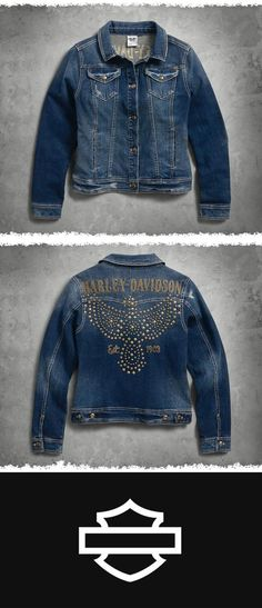 Certain to become a classic. | Harley-Davidson Women's Studded Eagle Denim Jacket