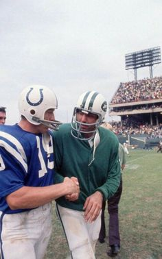 "Two pros, Johnny Unitas of the Baltimore Colts and Joe ""Wille"" Namath of the New York Jets. Super Bowl III the impossible happened, Jets' 16–7 over the Colts, anuary 1969, before the AFL–NFL merger."