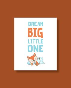 Fox Nursery Art Print Baby Fox Dream Big by HappyLittleBeans Fox Nursery, Nursery Wall Art, Nursery Decor, Art Wall Kids, Art For Kids, Fox Art, Baby Prints, Dream Big, Handmade Gifts