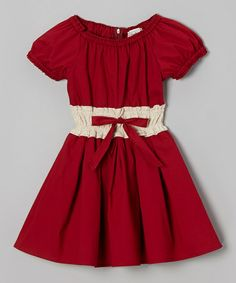 Brick Red & White Bow Peasant Dress - Toddler & Girls on #zulily! #zulilyfinds