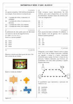 Atividades para imprimir do 3º ao 5º anos sempre a mão: prova Brasil Português e matemática 5º ano