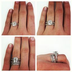 Engagement ring, wedding band, and a band for each child. Create your own stack to make it personal and unique! #special #sparkle #engaged #wedding #bands #diamonds #jewelry #ring #stack #sparkle #bling #unique #vintage #antique #love #singlestone #dtla @singlestonemissionstreet