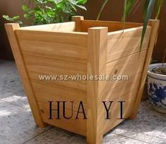 wooden planter pot