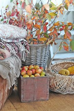 You can`t use up CREATIVITY. Autumn Coffee, Autumn Cozy, Soft Autumn, Fruits Decoration, Vibeke Design, Decor Scandinavian, Old Boxes, Autumn Decorating, Autumn Crafts