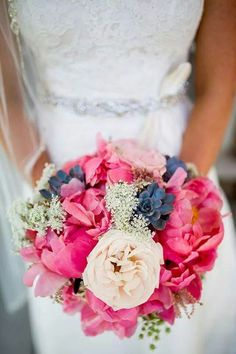 gorgeous pastel pink and blue wedding bouqets