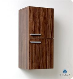 fst8091gw | Fresca Walnut Bathroom Linen Side Cabinet with 2 Storage Areas