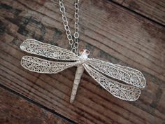 The dragonfly necklace by Viitasalla - filigree & regular Art Clay Silver with embedded cubic #zirkonia - #ACS #ArtSilverClay #jewelry #jewellery #necklace