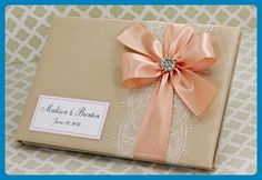 Champagne and Coral Wedding Guest Book Lace Custom Made in your Colors - Venue and reception decor (*Amazon Partner-Link)