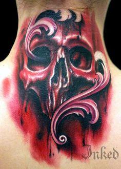 Red skull by Josh Hagan #InkedMagazine #skull #red #neck #tattoo #tattoos #inked #Ink