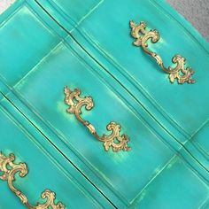 "Vintage Squirrel Decor says, ""Working on my bold teal 9 drawer solid wood French beauty. I love Florence Chalk Paint® by Annie Sloan""."