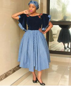 Newest South African Shweshwe Dresses for Women 2019 - Styles Art African Dresses For Women, African Print Dresses, African Attire, African Wear, African Fashion Dresses, Fashion Outfits, African Style, African Outfits, African Clothes
