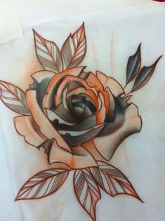 Ideas For Tattoo Rose Sketch Leaves Rose Drawing Tattoo, 1 Tattoo, Tattoo Sketches, Tattoo Drawings, Neo Traditional Roses, Neo Traditional Tattoo, Dibujos Tattoo, Desenho Tattoo, Rose Tattoos