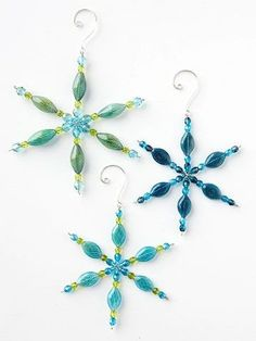Beaded Snowflake Christmas Ornament from BHG. Start with a wire snowflake form, pick an assortment of beads to suit your fancy, and make a blizzard of these pretty Christmas snowflake ornaments.(Diy Ornaments Home) Decoration Christmas, Christmas Ornaments To Make, Snowflake Ornaments, Noel Christmas, Christmas Snowflakes, Beaded Ornaments, Christmas Jewelry, Homemade Christmas, Beaded Snowflake