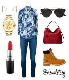 """""""Studio Session"""" by visualxtasy on Polyvore featuring Frame Denim, Yves Saint Laurent, Timberland, Alexis Bittar, Gucci, Grace Lee Designs, Movado, MAC Cosmetics and Christian Dior"""