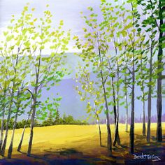 blue tree acrylic painting | Tree painting PRINT acrylic painting of the forest trees and mountains ...