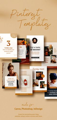 Kayla Marie is a professionally designed Pinterest marketing template of 30+ unique pins made for Canva, Photoshop or InDesign. This stunning pack is great for promoting your blog, website, eshop, online courses and more. It is also full of the moodboards, quotes, testimonials, resource pins, actions or sales. #pinterestmarketing #pinterestpins #pinteresttemplates #canvatemplate #photoshop #ladyboss #coursecreator #ladypreneur #socialmediamarketing #bloggermarketing Social Media Quotes, Social Media Graphics, Content Marketing Tools, Social Media Marketing, Social Media Template, Social Media Design, Creative Business, Business Tips, Indesign Templates