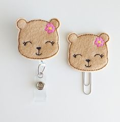 Bear Feltie Paperclip   Badge Reel   ID Badge   Felt Badge   Badge Holder   Lanyard   Planner Clip   Planner Accessories   Felt Teddy Bear