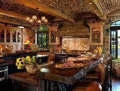 Beautiful #rustic #kitchen #logs