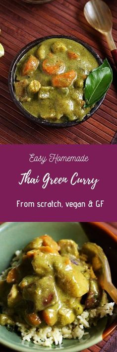 Learn how to make delicious, spicy vegan thai green curry from scratch with this easy recipe. Green curry paste recipe with substitues included! Veg Recipes, Indian Food Recipes, Real Food Recipes, Cooking Recipes, Green Curry Recipes Vegetarian, Vegan Thai Green Curry, Dhokla Recipe, Veg Dishes