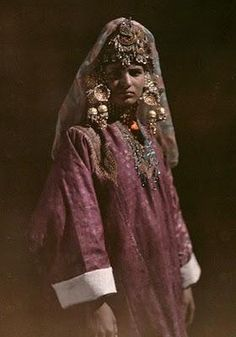 A young Kashmiri girl poses in her traditional attire - 1929