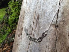 Recycled Campagnolo bike chain necklace with sterling silver chain on Etsy, $20.00