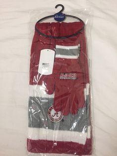 New Alabama Crimson Tide Knit Scarf Glove Gift Set OS School Colors and Logo NWT #NCAA #AlabamaCrimsonTide